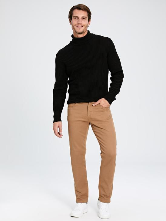 BROWN - Slim Fit Gabardine Men's Chino Trousers - 9W3184Z8