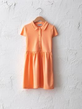 CORAL - Basic Polo Neck Short Sleeve Girl Dress