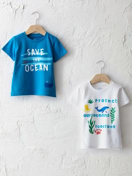 WHITE - Crew Neck Short Sleeve Printed Baby Boy T-Shirt 2 Pieces