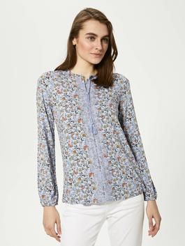 BLUE - Crew Neck Embroidery Embroidered Long Sleeve Viscose Women's Blouse