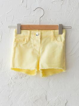 YELLOW - Comfort Fit Basic Baby Girl Gabardine Shorts