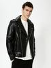 BLACK - Faux Leather Biker Coat - S10644Z8