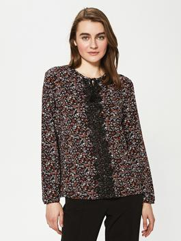 BLACK - Crew Neck Embroidery Embroidered Long Sleeve Viscose Women's Blouse