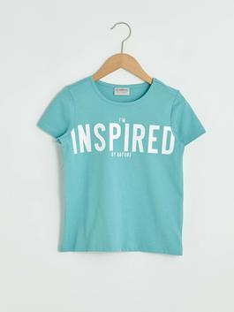 TURQUOISE - Girl's Letter Printed Cotton T-Shirt
