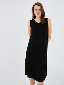 BLACK - Crew Neck Straight Women Dress