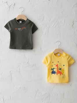 YELLOW - Crew Neck Short Sleeve Printed Baby Boy T-Shirt 2 Pieces