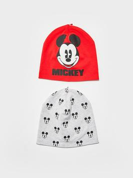 RED - Mickey Mouse Printed Baby Boy Beanie 2 Pieces - S11589Z1