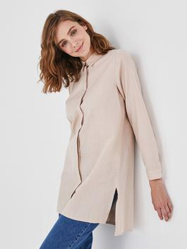 BEIGE - MODEST Shirt Collar Straight Long Sleeve Cotton Women's Tunic