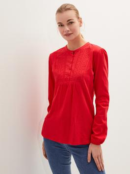 RED - Crew Neck Button Detailed Embroidered Blouse