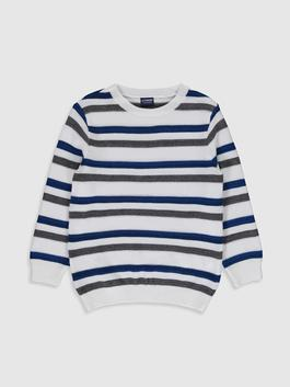 WHITE - Boy's Striped Lightweight Tricot Jumper