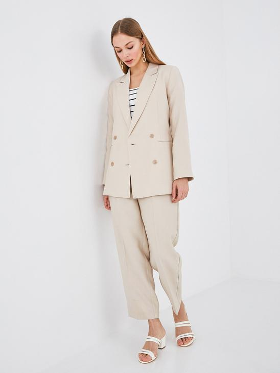 BEIGE - Button Detailed Woven Blazer Jacket - S1DO94Z8