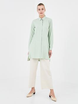 GREEN - MODEST Shirt Collar Straight Long Sleeve Cotton Women's Tunic