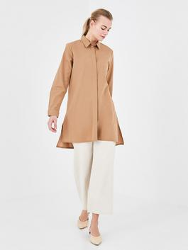 BROWN - MODEST Shirt Collar Straight Long Sleeve Cotton Women's Tunic
