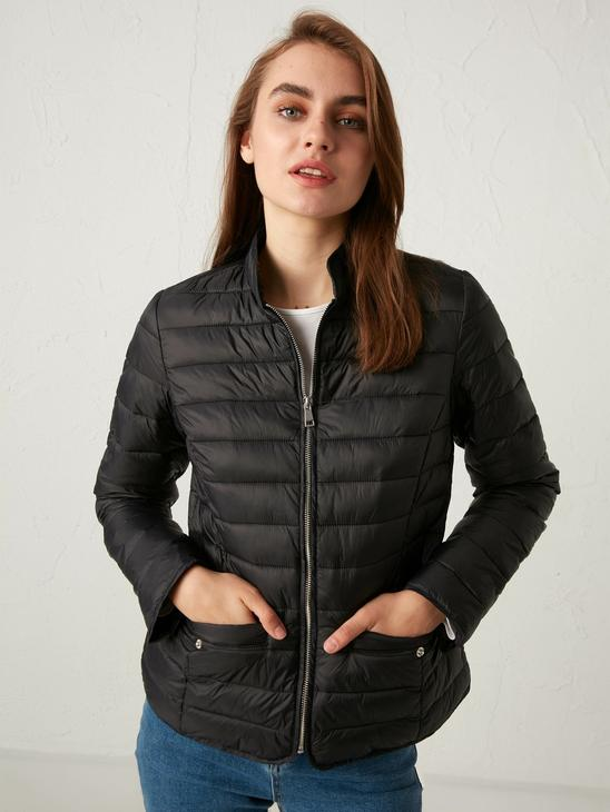 BLACK - Vertical Collar Thin Inflatable Coat - S12032Z8
