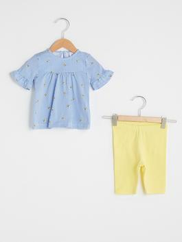 WHITE - Crew Neck Short Sleeve Patterned Cotton Baby Girl T-Shirt and Tights Set of 2