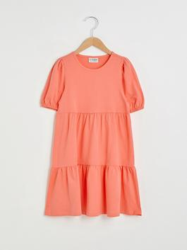 CORAL - Crew Neck Basic Short Sleeve Girl Dress