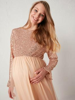 PINK - Crew Neck Sequined Maternity Dress