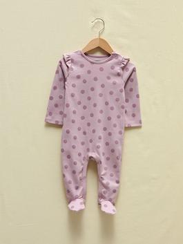 LILAC - Crew Neck Long Sleeve Organic Cotton Baby Girl Jumpsuit