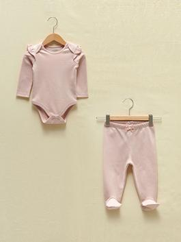 PINK - Crew Neck Long Sleeve Basic Organic Cotton Baby Girl Snap-On Bodysuit and Pants 2 Pieces