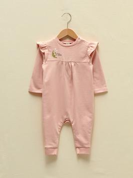 PINK - Crew Neck Long Sleeve Organic Cotton Printed Baby Girl Jumpsuit