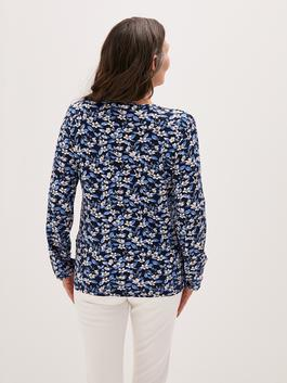 BLUE - Crew Neck Embroidery Embroidered Long Sleeve Viscose Women's Blouse - S1CA24Z8