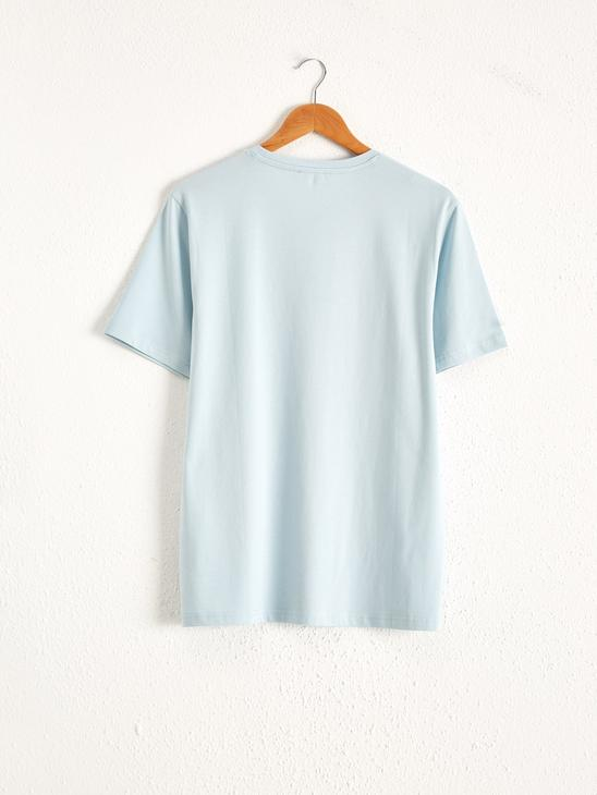 BLUE - Comfortable Fit Crew Neck Printed T-Shirt - 0SR486Z8
