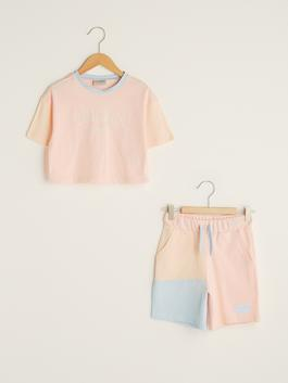 PINK - Crew Neck Printed Short Sleeve Girl's T-Shirt and Shorts - S1HY42Z4
