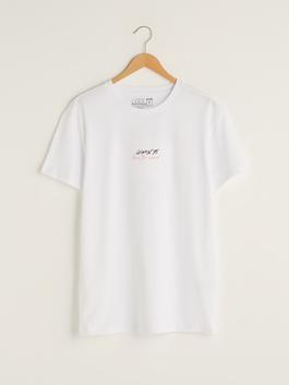 WHITE - XSIDE Crew Neck Short Sleeve Printed Combed Cotton Men's T-Shirt - S1JB58Z8