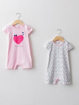 WHITE - Crew Neck Short Sleeve Printed Baby Girl Jumpsuit 2 Pieces - S18966Z1