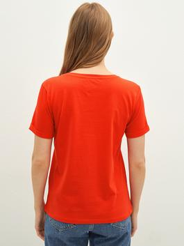 RED - Crew Neck Printed Short Sleeve Cotton Women's T-Shirt - S16649Z8
