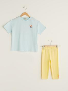 BLUE - Crew Neck Printed Girls T-Shirt and Tights - S1J093Z4