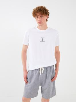WHITE - XSIDE Crew Neck Short Sleeve Printed Combed Cotton Men's T-Shirt - S1JB60Z8