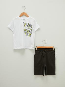 WHITE - Crew Neck Printed Short Sleeve Boy T-Shirt and Shorts - S1AP84Z4