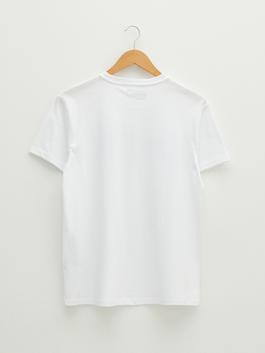 WHITE - XSIDE Crew Neck Short Sleeve Printed Combed Cotton Men's T-Shirt - S1KN36Z8