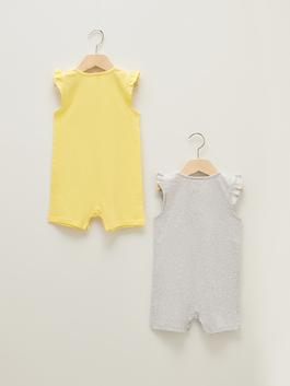 YELLOW - Crew Neck Short Sleeve Printed Baby Girl Jumpsuit 2 Pieces - S1AD22Z1