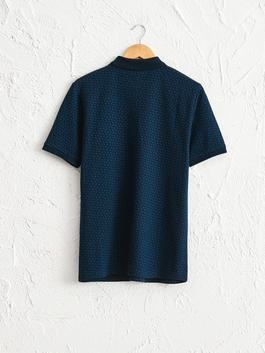 NAVY - Polo Neck and Short Sleeve Cotton T-Shirt - 0W5738Z8