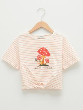 CORAL - Crew Neck Printed Short Sleeve Cotton Girls T-Shirt - S1J446Z4