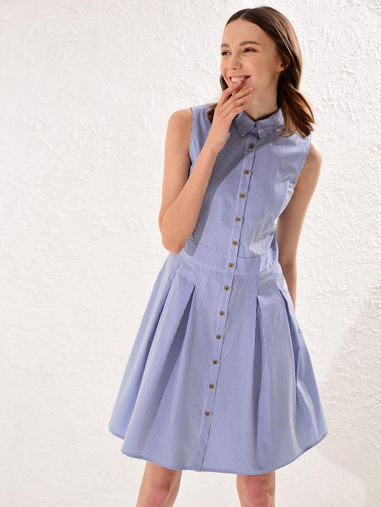 BLUE - Stripped Shirt Dress Mother and Daughter Matching - 0SE710Z4