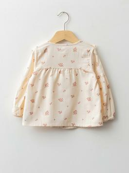 ECRU - Crew Neck Long Sleeve Patterned Baby Girl Shirt - W1AT81Z1