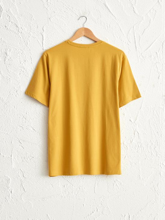 YELLOW - Comfortable Fit Crew Neck Printed T-Shirt - 0SR486Z8
