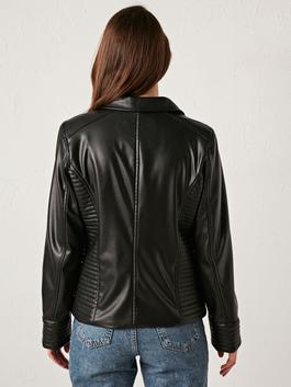 BLACK - Shirt Collar Leather Look Coat - S1DH16Z8
