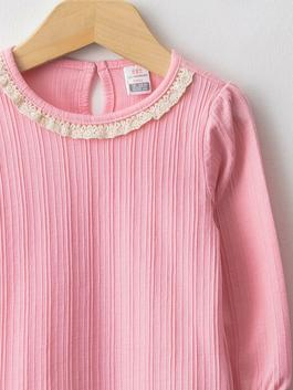 PINK - Crew Neck Long Sleeve Printed Baby Girl T-Shirt 2 Pieces - W1AP58Z1