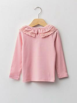 PINK - Crew Neck Long Sleeve Self-Patterned Baby Girl T-Shirt - W1AG70Z1