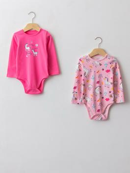 PINK - Crew Neck Long Sleeve Printed Cotton Baby Girl Body With Snap Fastener 2 Pieces - W12599Z1