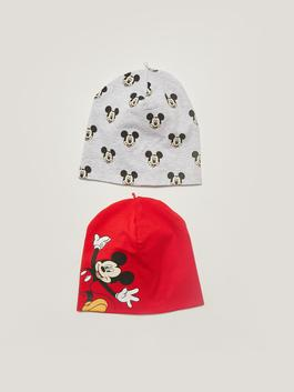 RED - Mickey Mouse Printed Baby Boy Beanie 2 Pieces - W18129Z1