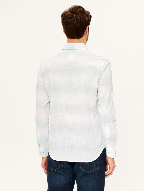 TURQUOISE - Slim Fit Striped Long Sleeve Shirt - 0SI979Z8