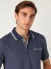 NAVY - Polo Neck Short Sleeve Combed Cotton T-Shirt - 0SQ641Z8