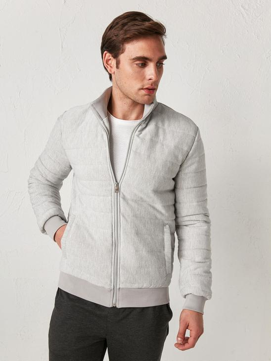 GREY - Slim Fit Quilted Bomber Coat - 0WHK52Z8