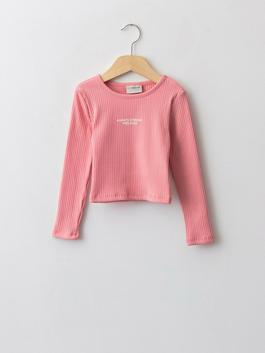 PINK - Crew Neck Printed Long Sleeve Girl's T-Shirt - W1AB55Z4