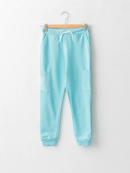 TURQUOISE - Elastic Waist Printed Boy Jogger Trousers - W15828Z4